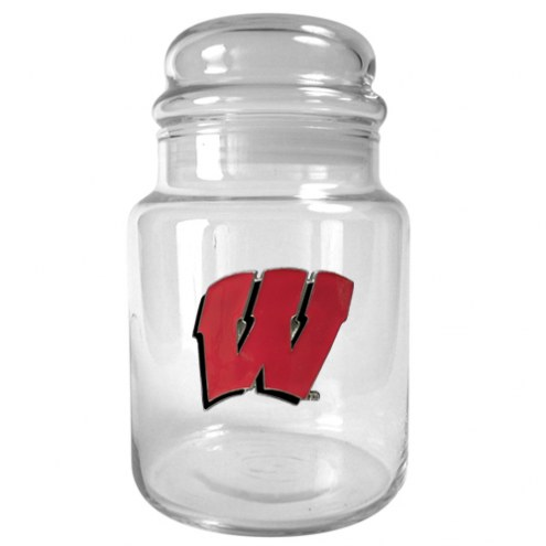 Wisconsin Badgers College 31 Oz Glass Candy Jar
