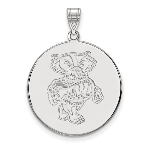 Wisconsin Badgers Sterling Silver Extra Large Disc Pendant