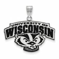 Wisconsin Badgers Sterling Silver Large Enameled Pendant