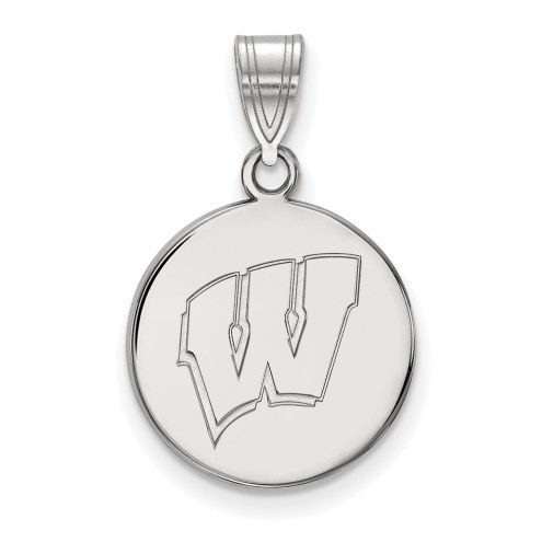 Wisconsin Badgers Sterling Silver Medium Disc Pendant
