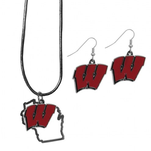 Wisconsin Badgers Dangle Earrings & State Necklace Set