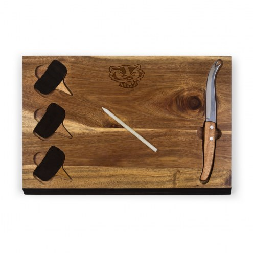Wisconsin Badgers Delio Bamboo Cheese Board & Tools Set