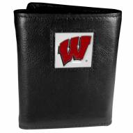 Wisconsin Badgers Deluxe Leather Tri-fold Wallet in Gift Box