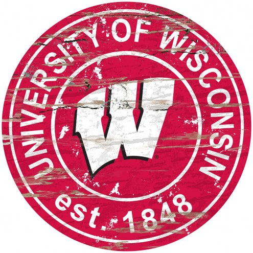 Wisconsin Badgers Distressed Round Sign