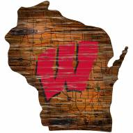 Wisconsin Badgers Distressed State with Logo Sign