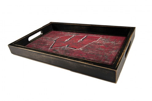 Wisconsin Badgers Distressed Team Color Tray