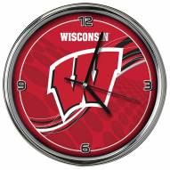 Wisconsin Badgers Dynamic Chrome Clock