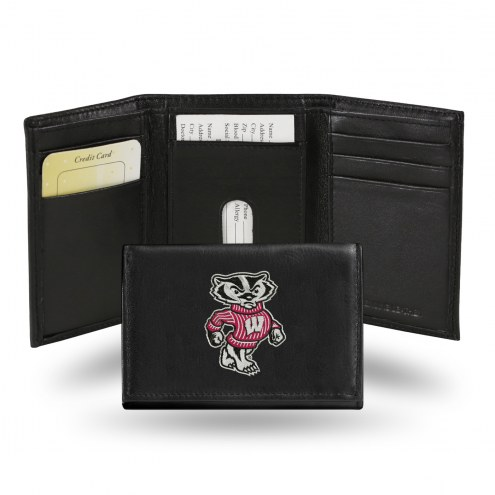 Wisconsin Badgers Embroidered Leather Tri-Fold Wallet