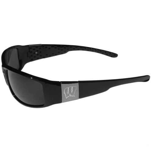 Wisconsin Badgers Etched Chrome Wrap Sunglasses