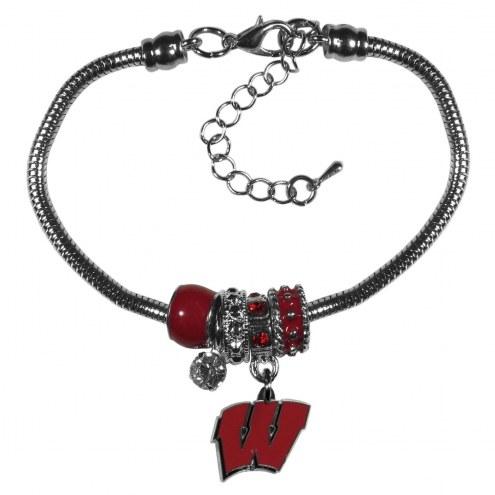 Wisconsin Badgers Euro Bead Bracelet