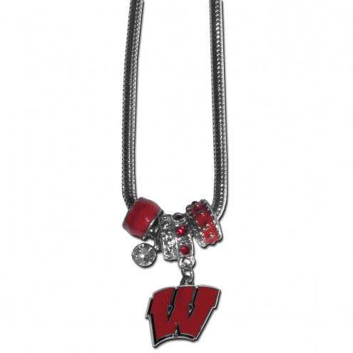 Wisconsin Badgers Euro Bead Necklace