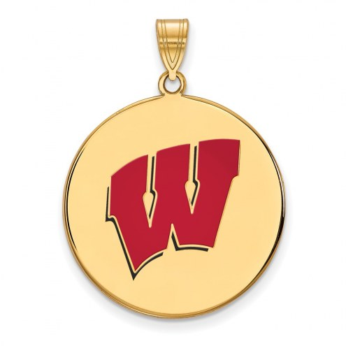 Wisconsin Badgers Sterling Silver Gold Plated Extra Large Enameled Disc Pendant
