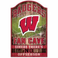 Wisconsin Badgers Fan Cave Wood Sign