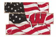Wisconsin Badgers Flag 3 Plank Sign