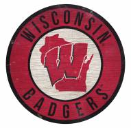 Wisconsin Badgers Round State Wood Sign
