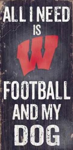 Wisconsin Badgers Football & Dog Wood Sign