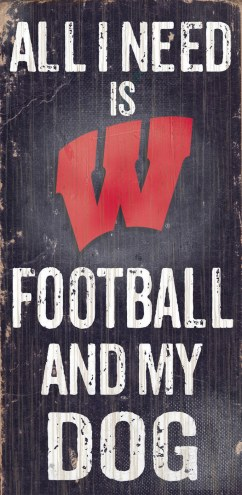 Wisconsin Badgers Football & Dog Wood Sign