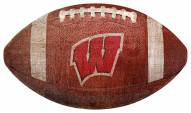 Wisconsin Badgers Football Shaped Sign