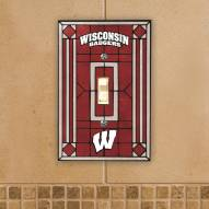 Wisconsin Badgers Glass Single Light Switch Plate Cover