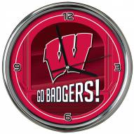 Wisconsin Badgers Go Team Chrome Clock