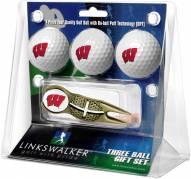 Wisconsin Badgers Gold Crosshair Divot Tool & 3 Golf Ball Gift Pack