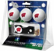 Wisconsin Badgers Golf Ball Gift Pack with Spring Action Divot Tool