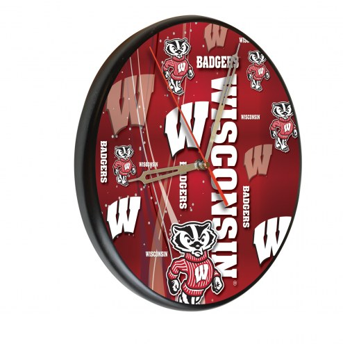 Wisconsin Badgers Digitally Printed Wood Clock