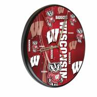 Wisconsin Badgers Digitally Printed Wood Clock