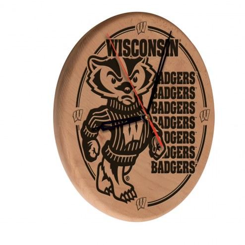 Wisconsin Badgers Laser Engraved Wood Clock