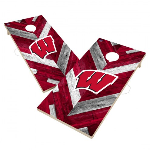 Wisconsin Badgers Herringbone Cornhole Game Set