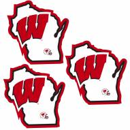 Wisconsin Badgers Home State Decal - 3 Pack