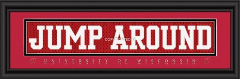 """Wisconsin Badgers """"Jump Around"""" Stitched Jersey Framed Print"""