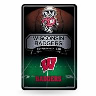 Wisconsin Badgers Large Embossed Metal Wall Sign