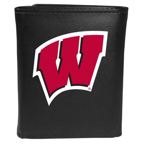 Wisconsin Badgers Large Logo Leather Tri-fold Wallet