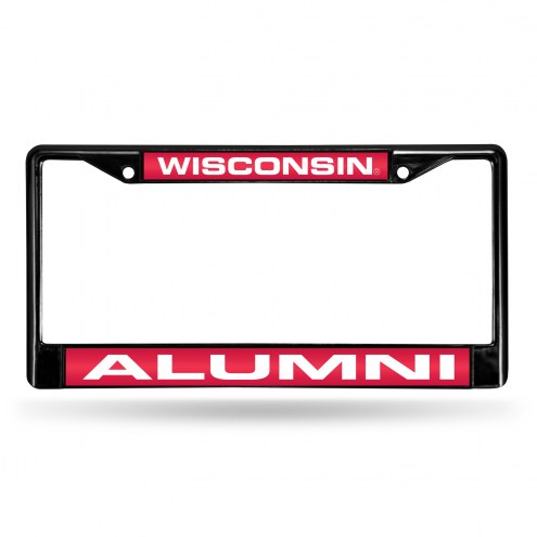 Wisconsin Badgers Laser Black License Plate Frame