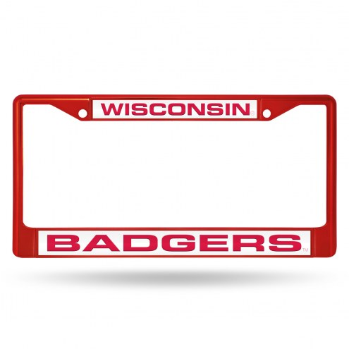 Wisconsin Badgers Laser Colored Chrome License Plate Frame