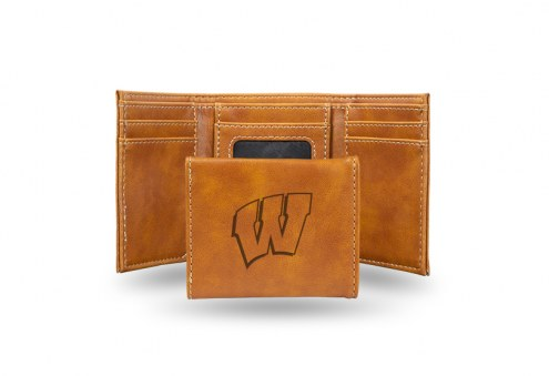 Wisconsin Badgers Laser Engraved Brown Trifold Wallet
