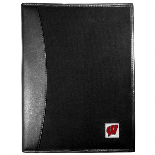 Wisconsin Badgers Leather and Canvas Padfolio