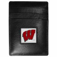 Wisconsin Badgers Leather Money Clip/Cardholder in Gift Box