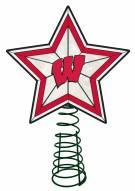 Wisconsin Badgers Light Up Art Glass Tree Topper
