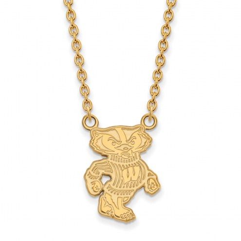Wisconsin Badgers Sterling Silver Gold Plated Large Pendant Necklace