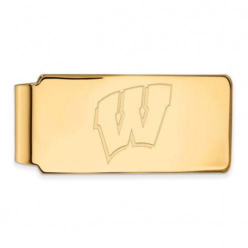Wisconsin Badgers Sterling Silver Gold Plated Money Clip