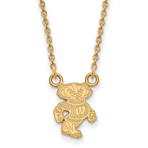 Wisconsin Badgers Sterling Silver Gold Plated Small Pendant Necklace