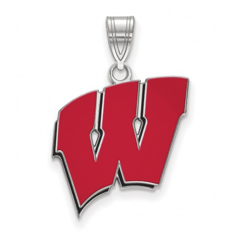Wisconsin Badgers Sterling Silver Large Pendant
