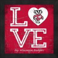 Wisconsin Badgers Love My Team Color Wall Decor