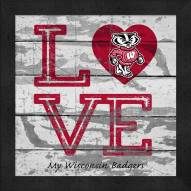 Wisconsin Badgers Love My Team Square Wall Decor