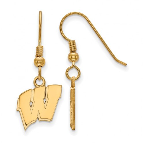 Wisconsin Badgers NCAA Sterling Silver Gold Plated Small Dangle Earrings