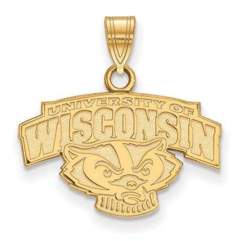 Wisconsin Badgers Sterling Silver Gold Plated Small Pendant