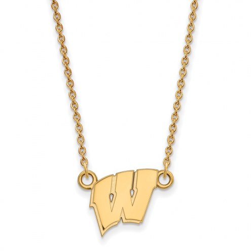 Wisconsin Badgers NCAA Sterling Silver Gold Plated Small Pendant Necklace