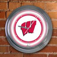 Wisconsin Badgers NCAA Neon Wall Clock